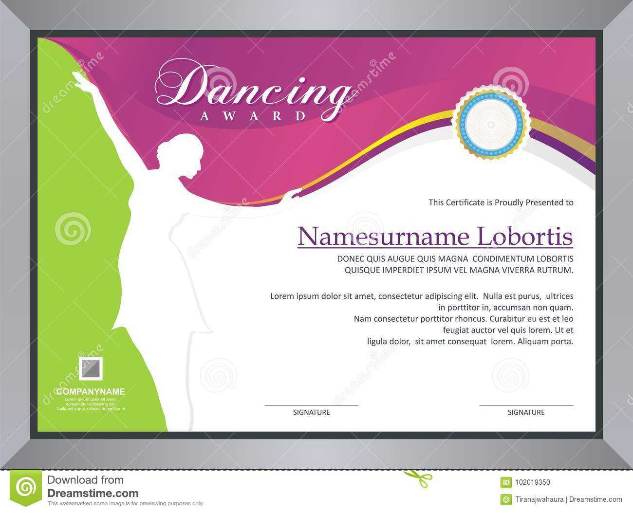 Dancing Award Stock Vector. Illustration Of Certificate For Dance Certificate Template