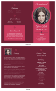 Dark Red Funeral Program Template within Memorial Brochure Template