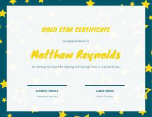 Dark Teal And Yellow Star Kinder Student Certificate in Star Of The Week Certificate Template