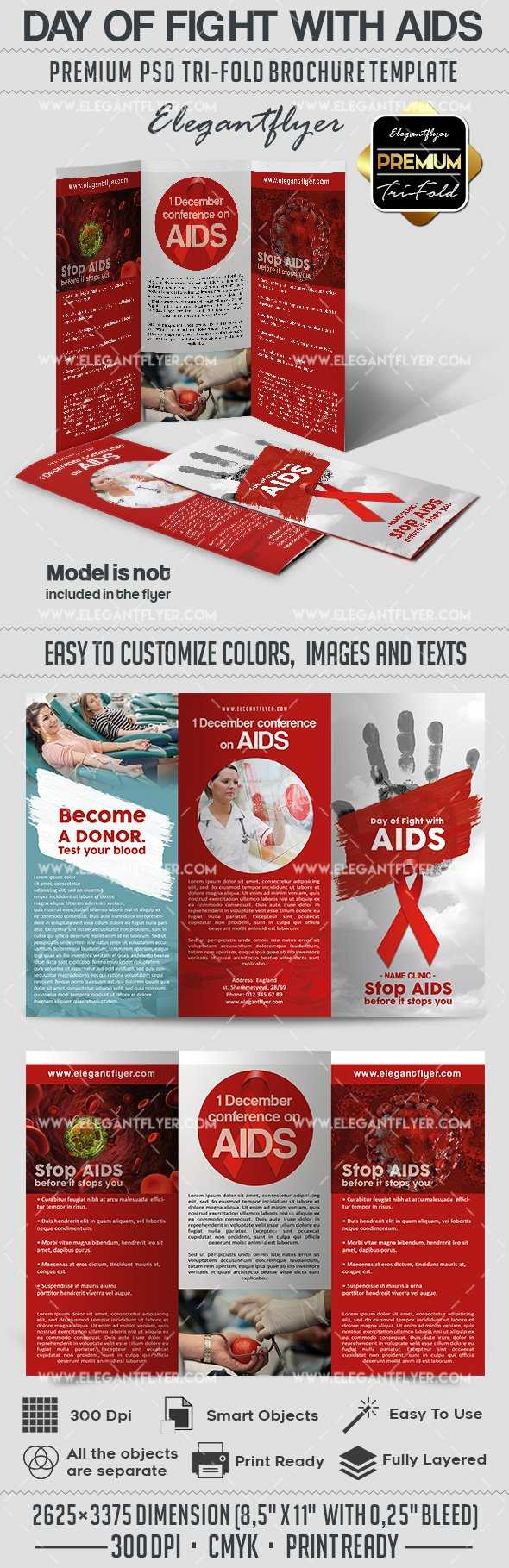 Day Of Fight With Aids Psd Brochure Pertaining To Hiv Aids Brochure Templates