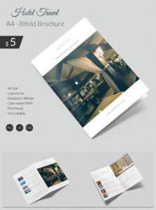 Dazzling Hotel & Travel A4 Bi Fold Brochure Template | Free with Brochure Templates Free Download Indesign