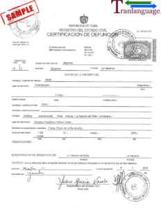 Death Certificate Cuba Iii with Marriage Certificate Translation Template