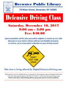 Defensive Driving Course December 16 At Brewster Library within Safe Driving Certificate Template