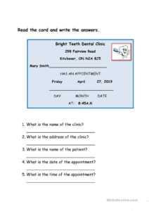 Dentist Appointment Card – English Esl Worksheets For intended for Dentist Appointment Card Template