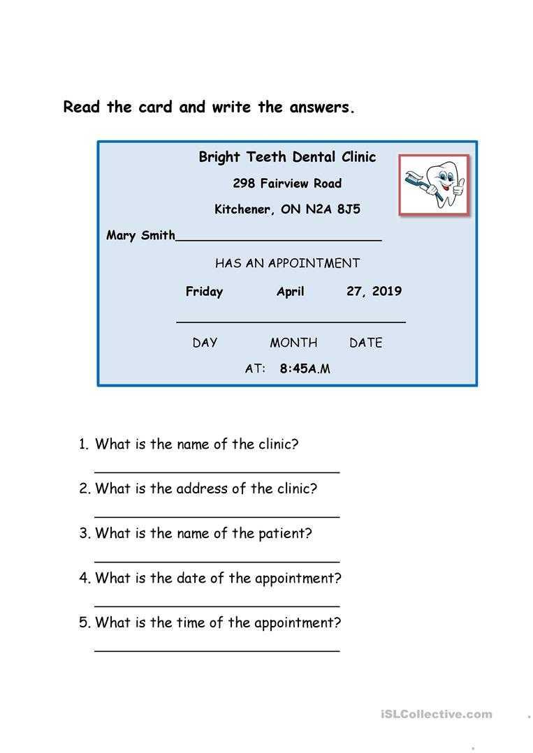 Dentist Appointment Card - English Esl Worksheets For Intended For Dentist Appointment Card Template