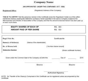 Difference Between Share Certificate And Share Warrant in Template For Share Certificate