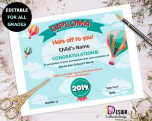 Diploma, Oh The Places You'll Go Inspired Certificate, Kindergarten, Pre-K,  1St Grade, Graduation, 2Nd Grade, 3Rd Grade, 4Th Grade,5Th Grade throughout 5Th Grade Graduation Certificate Template