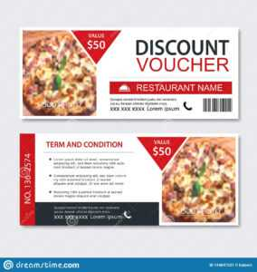 Discount Gift Voucher Fast Food Template Design. Pizza Set in Pizza Gift Certificate Template