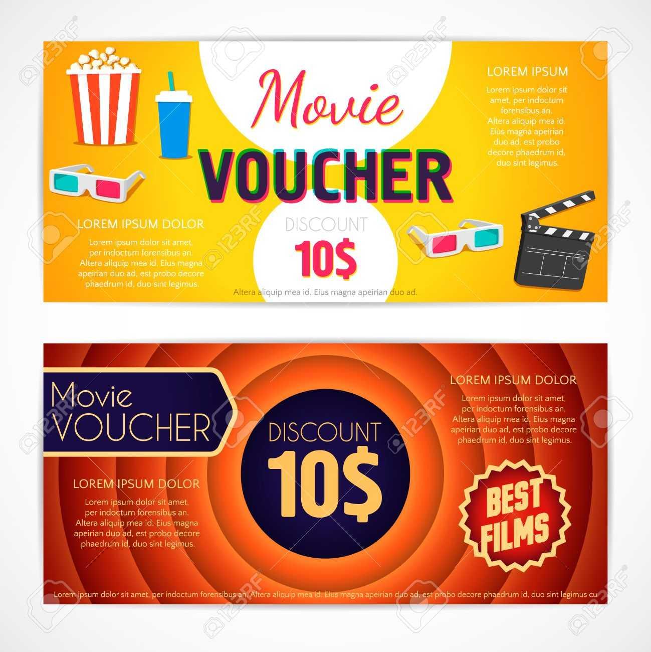 Discount Voucher Movie Template, Cinema Gift Certificate, Coupon.. Inside Movie Gift Certificate Template