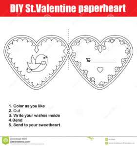 Diy Children Educational Creative Game. Make A Valentine Day throughout Valentine Card Template For Kids