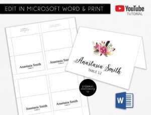 Diy Editable Microsoft Word Template Place Card   Wedding   Tent Card    Engagement   Corporate   Escort Card with regard to Ms Word Place Card Template