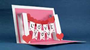 Diy Valentine Card – Handmade I Love You Pop Up Card With Regard To I Love You Pop Up Card Template