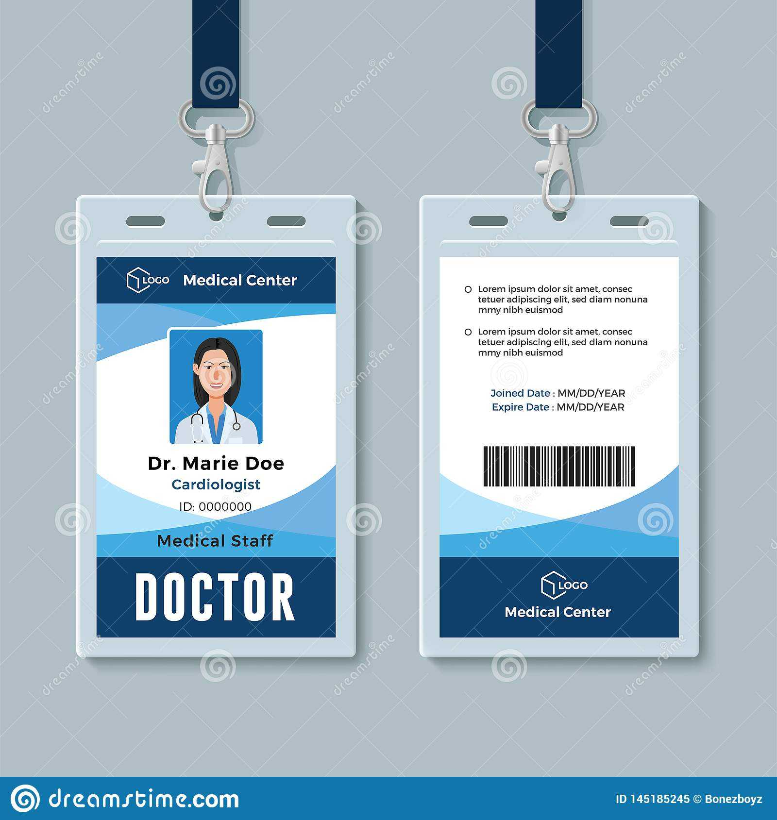 Doctor Id Badge. Medical Identity Card Design Template Stock For Hospital Id Card Template
