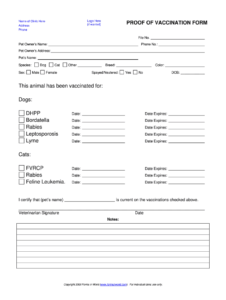 Dog Shot Record Template – Fill Online, Printable, Fillable for Rabies Vaccine Certificate Template