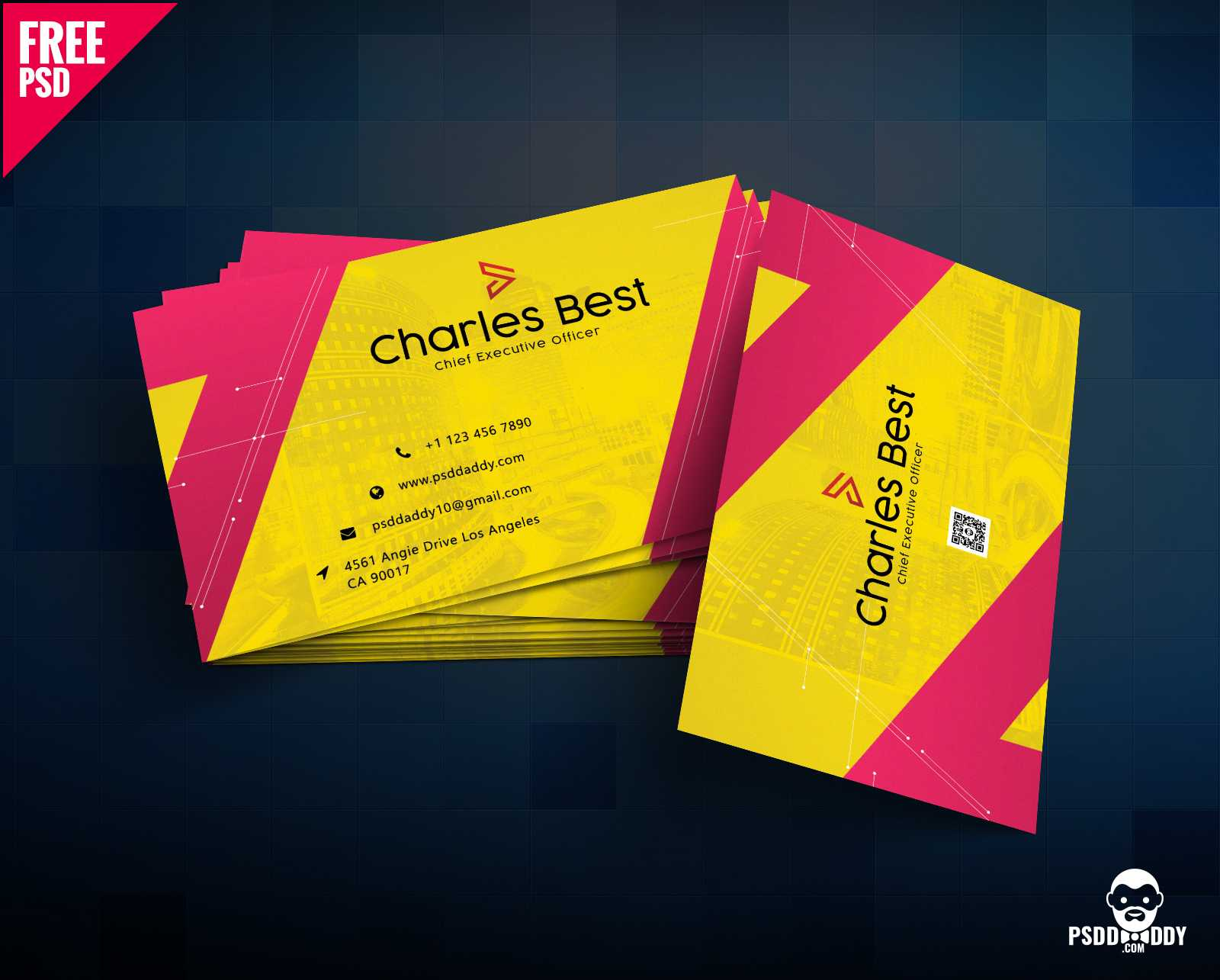 Download] Creative Business Card Free Psd | Psddaddy Regarding Business Card Size Photoshop Template