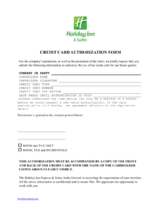 Download Holiday Inn Credit Card Authorization Form Template within Hotel Credit Card Authorization Form Template