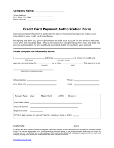 Download One (1) Time Credit Card Authorization Payment Form for Credit Card Payment Form Template Pdf