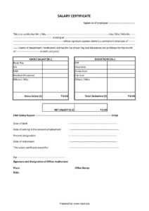 Download Salary Certificate Formats – Word, Excel And Pdf with regard to Certificate Of Payment Template