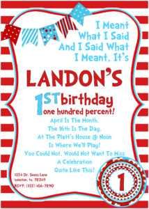 Dr Seuss Birthday Invitations Wording | Drevio within Dr Seuss Birthday Card Template