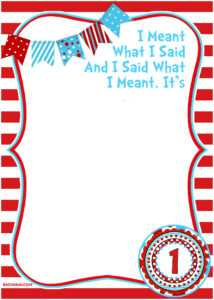 √ Free Printable Dr Seuss Birthday Invitations inside Dr Seuss Birthday Card Template