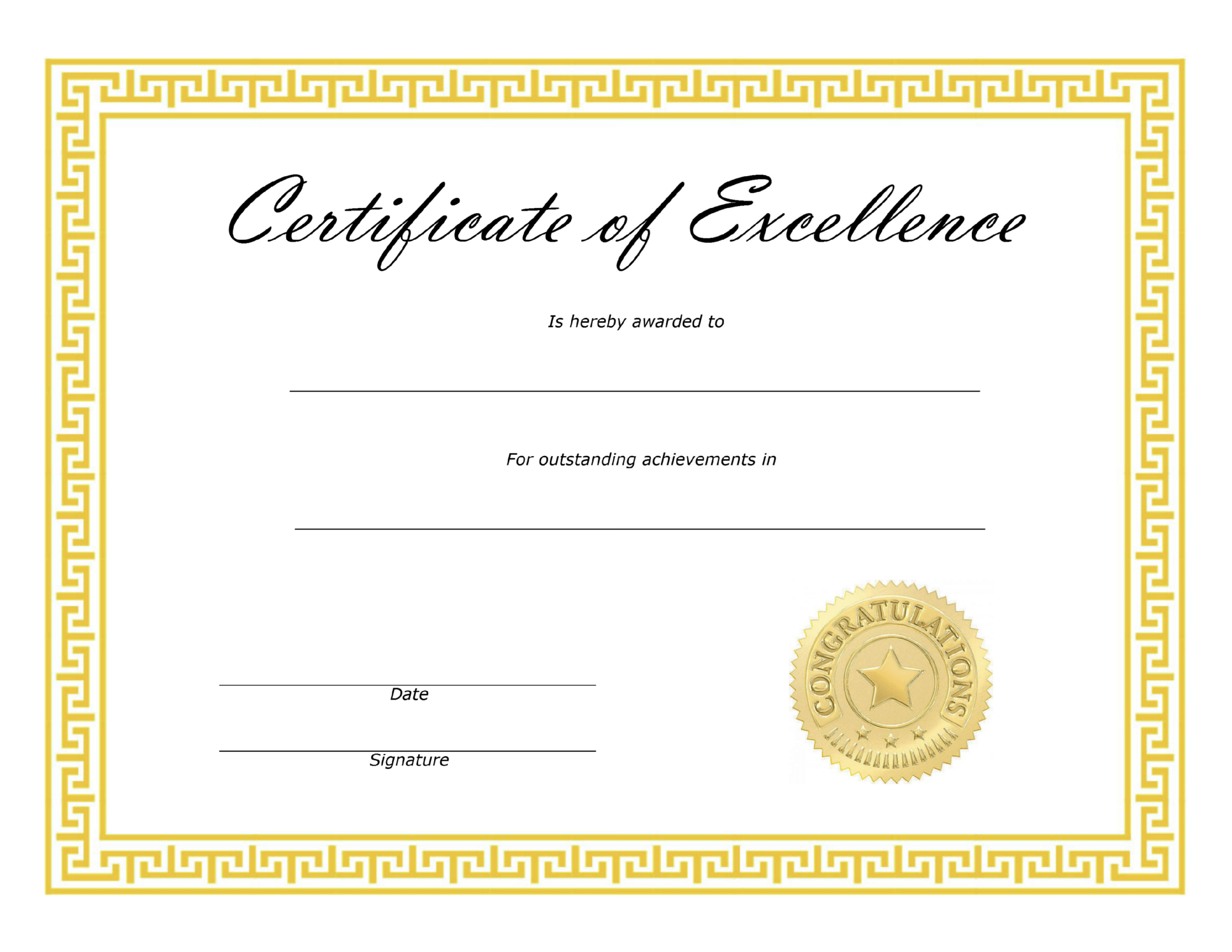 ❤️ Free Sample Certificate Of Excellence Templates❤️ In Free Certificate Of Excellence Template