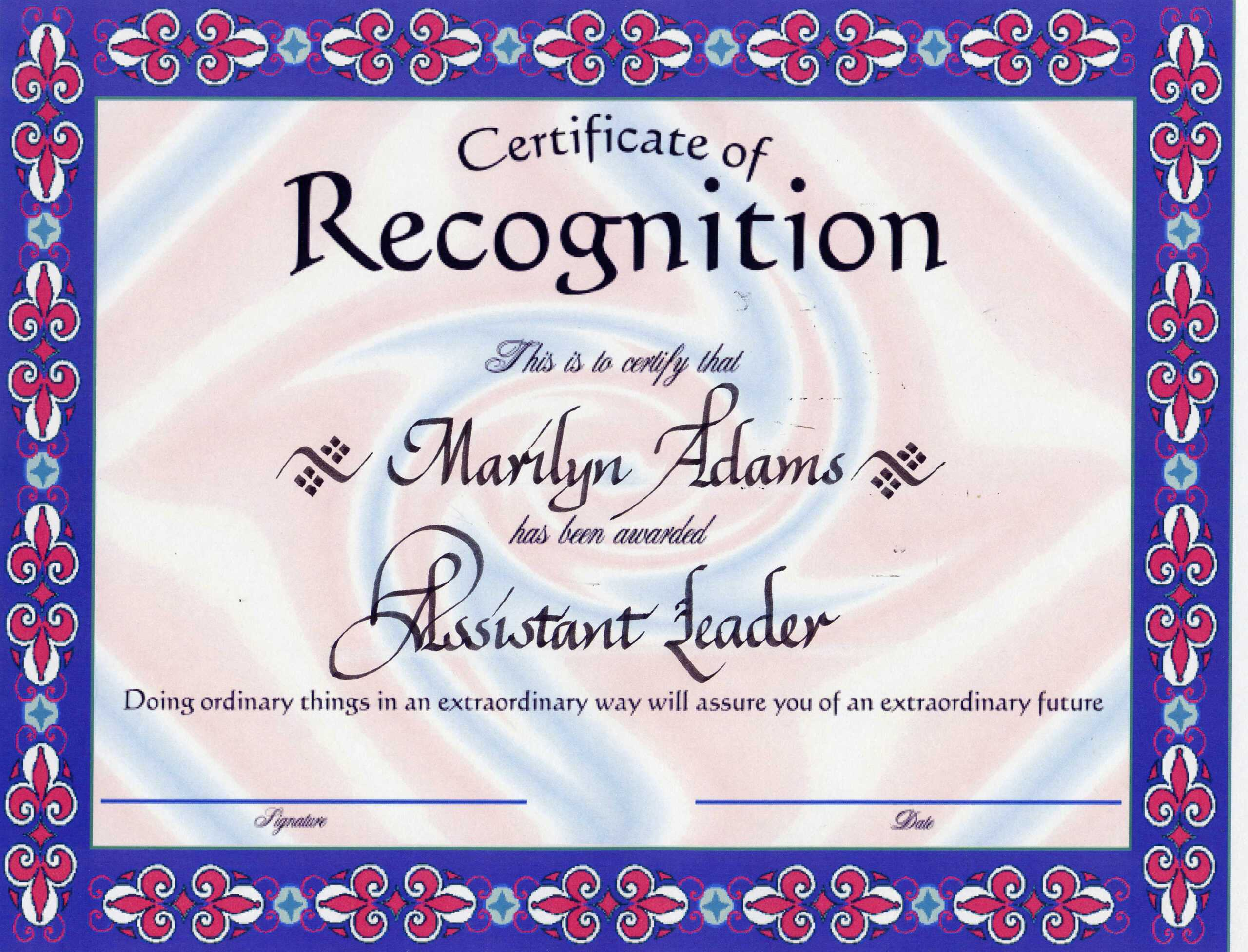 ❤️free Certificate Of Recognition Template Sample❤️ Throughout Safety Recognition Certificate Template
