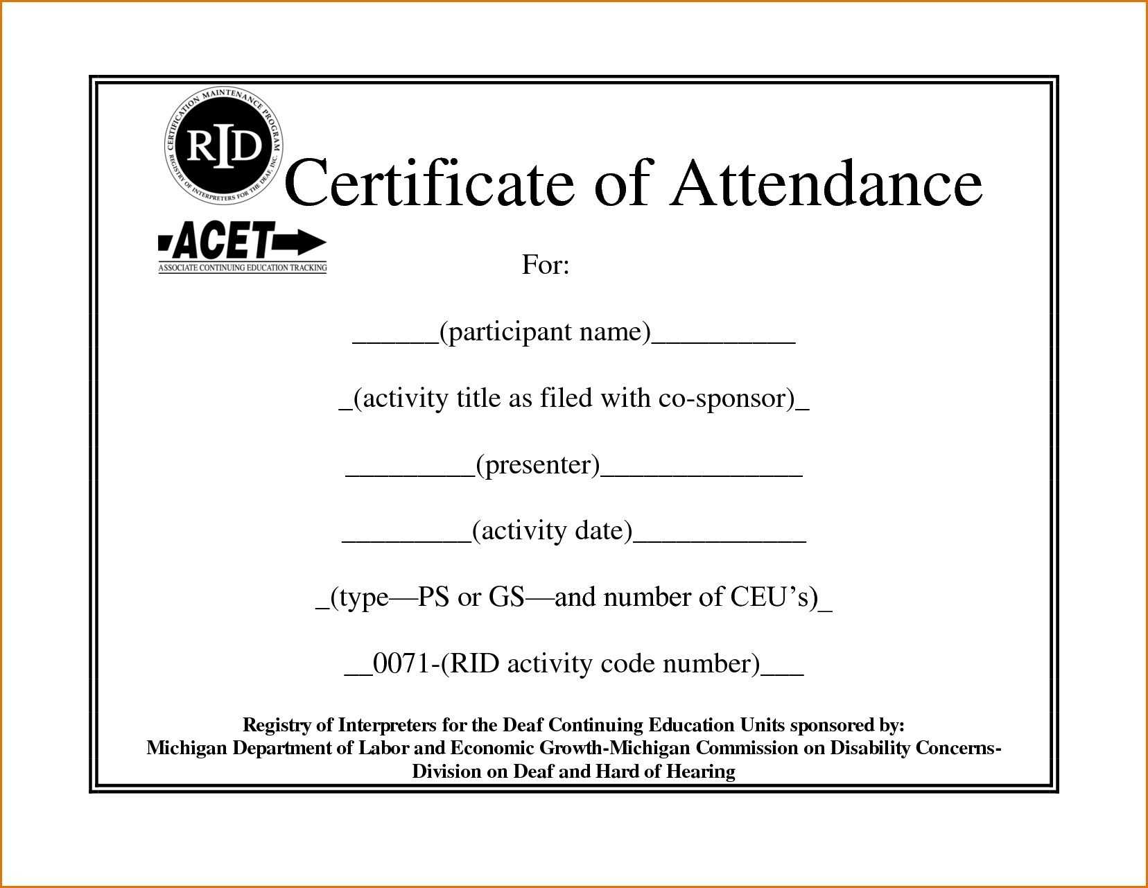 ❤️free Printable Certificate Of Attendance Sample Template Inside Attendance Certificate Template Word
