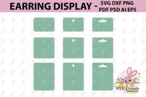 Earring Cards Svg, Earring Display Svg, Earring Display Pdf within Free Svg Card Templates