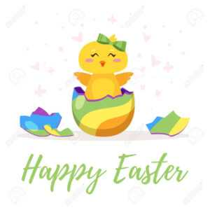 Easter Day Greeting Card Template With Cute Chick Hatched From.. within Easter Chick Card Template