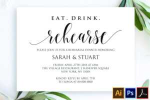 Eat Drink Rehearse Rehearsal Dinner Invitation Template within Frequent Diner Card Template