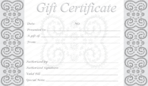 Editable And Printable Silver Swirls Gift Certificate Template for Anniversary Certificate Template Free