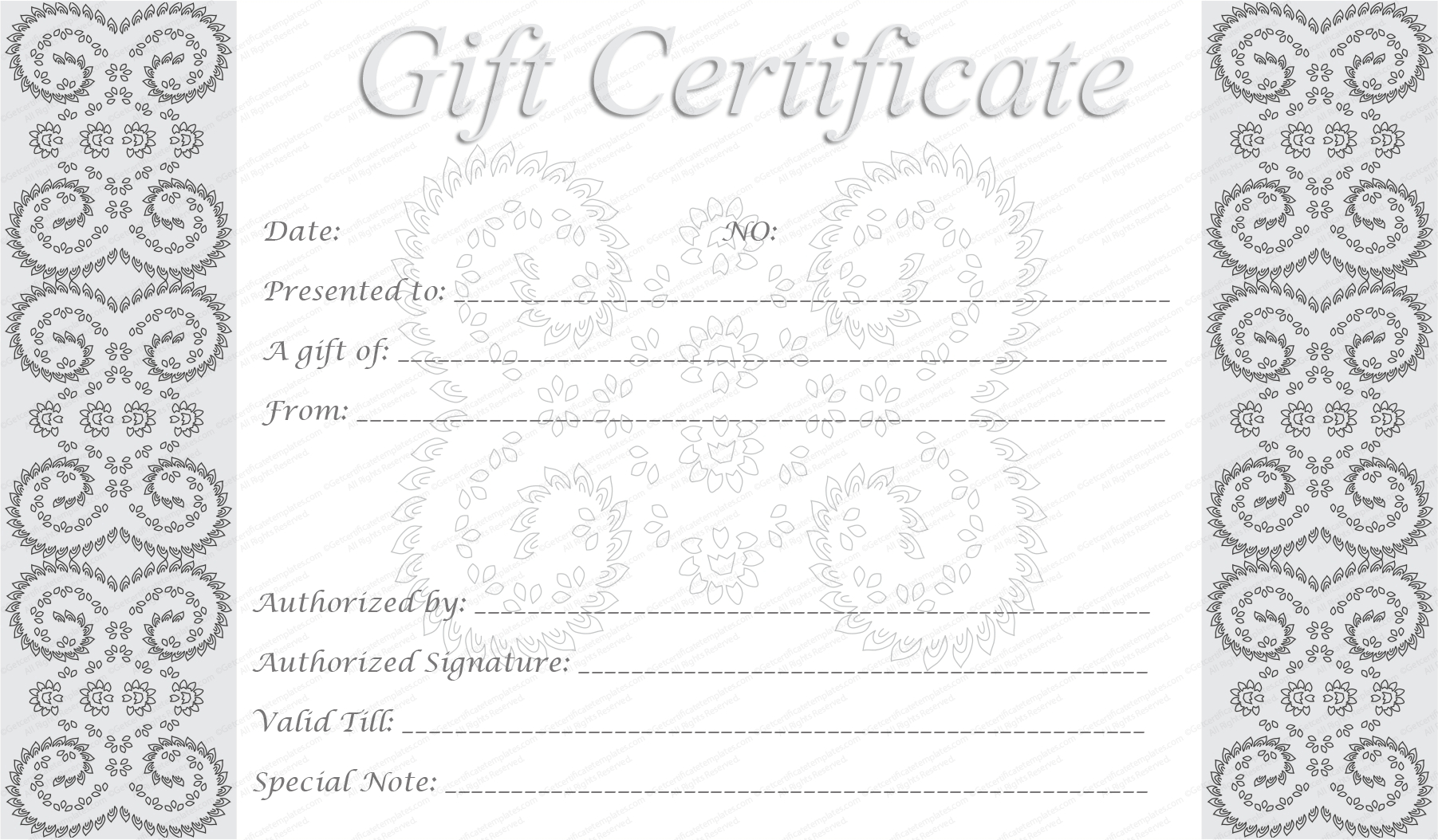 Editable And Printable Silver Swirls Gift Certificate Template Pertaining To Graduation Gift Certificate Template Free