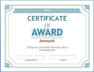 Editable Award Certificate Template In Word #1476 Throughout regarding Word Certificate Of Achievement Template