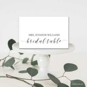 Editable Bridal Table Place Cards, Tent Fold Table Setting Name Cards,  Wedding Table Place Setting, Template, Diy Wedding, Pdf, Printable for Place Card Setting Template