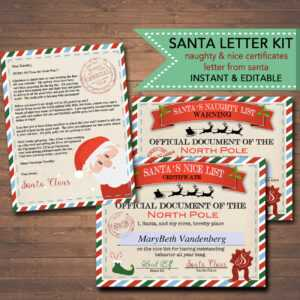Editable Nice/naughty Certificates, Santa Letter Christmas Reward  Certificate Santa's Nice List, Letter From Santa Template Instant Download for Softball Certificate Templates Free