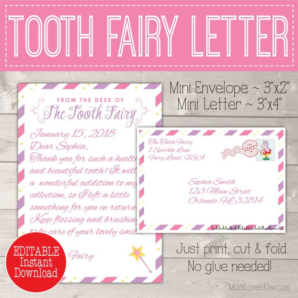 Editable Tooth Fairy Letter With Envelope | Printable Pink In Tooth Fairy Certificate Template Free