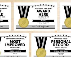 Editable Track And Field Award Certificates – Instant Download Printable –  Black And Silver Grey Gray within Track And Field Certificate Templates Free