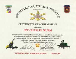 Education / Awards for Certificate Of Achievement Army Template