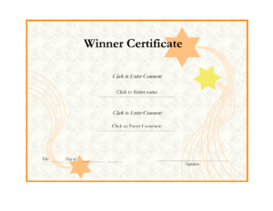 Effective Winner Certificate Template Designlizzy2008 inside Winner Certificate Template