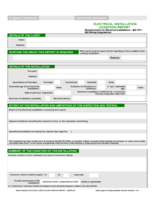 Electrical Installation Condition Report Form – 2 Free regarding Electrical Installation Test Certificate Template