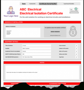 Electrical Isolation Certificate | Send Unlimited with regard to Electrical Isolation Certificate Template