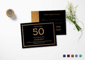 Elegant Black And Gold 50Th Birthday Invitation Template in Indesign Birthday Card Template