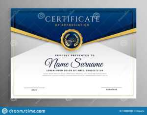 Elegant Blue And Gold Diploma Certificate Template Stock within Elegant Certificate Templates Free