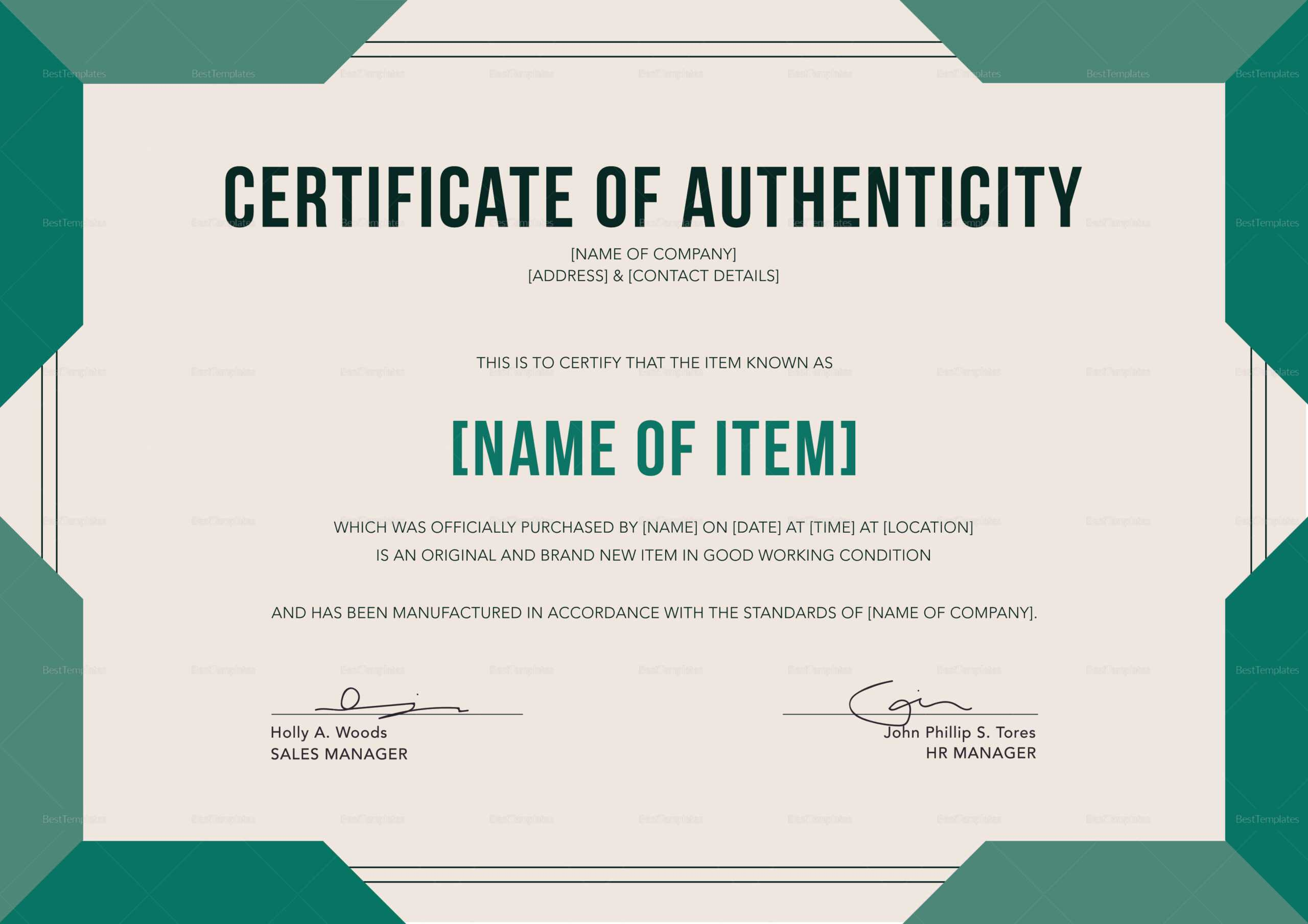 Elegant Certificate Of Authenticity Template For Certificate Of Authenticity Template