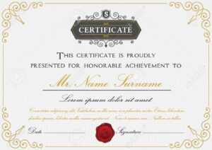 Elegant Certificate Template Design With Border, Sealing Wax.. with Certificate Template Size
