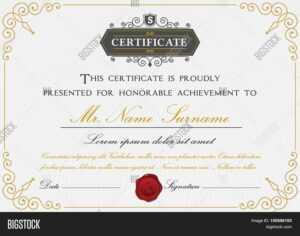 Elegant Certificate Vector & Photo (Free Trial) | Bigstock for Elegant Certificate Templates Free