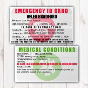 Emergency Identification Card Template, Medical Condition regarding In Case Of Emergency Card Template