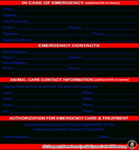 Emergency Information Card Template   Crafts4K9Rescue within In Case Of Emergency Card Template