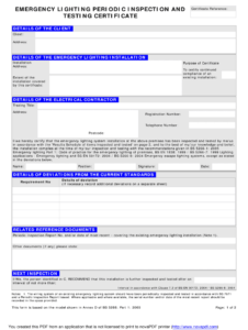 Emergency Lighting Certificate – Fill Online, Printable pertaining to Electrical Installation Test Certificate Template