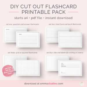 Emma's Studyblr — Free Diy Flashcards Printable Pack I've intended for Free Printable Blank Flash Cards Template